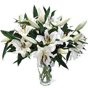 Mersin çiçek online çiçek siparişi  3 dal görsel casablanca vazo tanzimi