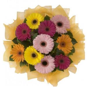 Mersin uluslararası çiçek gönderme  11 adet karışık gerbera çiçeği buketi