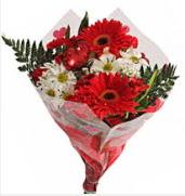 Mevsim çiçeklerinden görsel buket  Mersin İnternetten çiçek siparişi