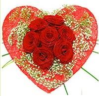 Mika kalp içerisinde 7 adet kırmızı gül  Mersin yurtiçi ve yurtdışı çiçek siparişi