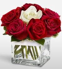 Tek aşkımsın çiçeği 8 kırmızı 1 beyaz gül  Mersin çiçek , çiçekçi , çiçekçilik