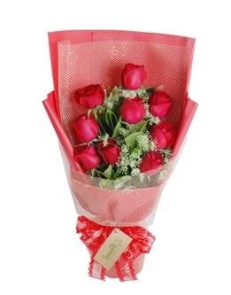 9 adet kırmızı gülden görsel buket  Mersin kaliteli taze ve ucuz çiçekler
