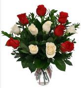 Vazo içerisinde 6 kırmızı 6 beyaz gül  Mersin güvenli kaliteli hızlı çiçek