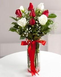 5 kırmızı 4 beyaz gül vazoda  Mersin çiçek satışı