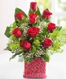 Cam içerisinde 9 adet kırmızı gül  Mersin çiçek yolla , çiçek gönder , çiçekçi