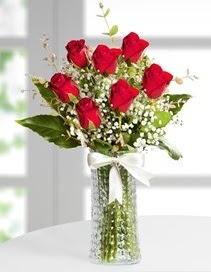 Cam vazoda 7 adet kırmızı gül  Mersin çiçek mağazası , çiçekçi adresleri