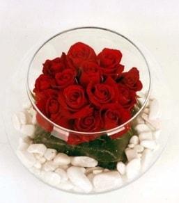 Cam fanusta 11 adet kırmızı gül  Mersin hediye sevgilime hediye çiçek
