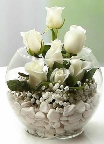 Beyaz Mutluluk 9 beyaz gül fanusta  Mersin online çiçekçi , çiçek siparişi