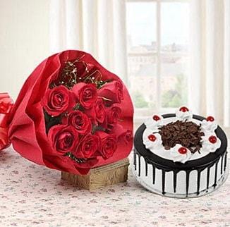12 adet kırmızı gül 4 kişilik yaş pasta  Mersin çiçek mağazası , çiçekçi adresleri