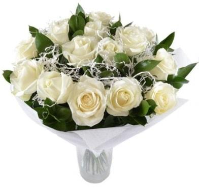 15 beyaz gül buketi sade aşk  Mersin çiçek servisi , çiçekçi adresleri