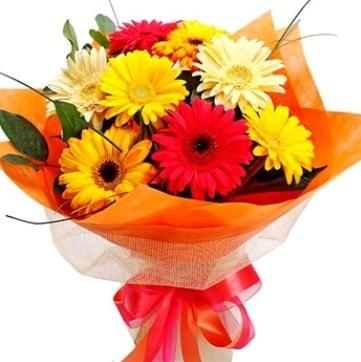 9 adet karışık gerbera buketi  Mersin çiçek mağazası , çiçekçi adresleri