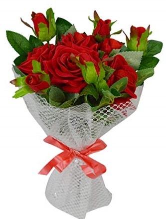 9 adet kırmızı gülden sade şık buket  Mersin çiçek online çiçek siparişi