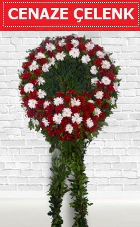 Kırmızı Beyaz Çelenk Cenaze çiçeği  Mersin uluslararası çiçek gönderme
