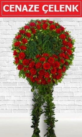 Kırmızı Çelenk Cenaze çiçeği  Mersin uluslararası çiçek gönderme