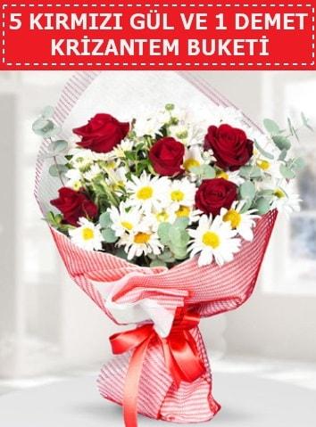 5 adet kırmızı gül ve krizantem buketi  Mersin çiçek servisi , çiçekçi adresleri