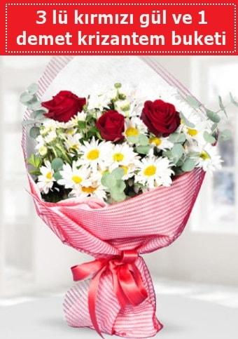 3 adet kırmızı gül ve krizantem buketi  Mersin 14 şubat sevgililer günü çiçek