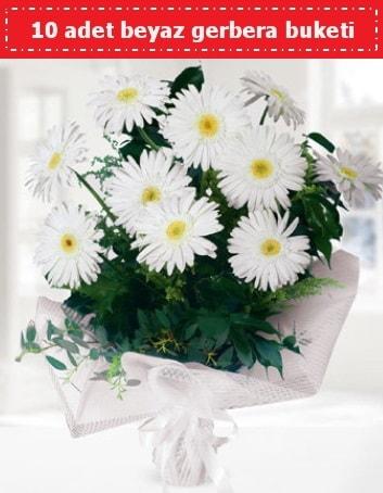 10 Adet beyaz gerbera buketi  Mersin çiçek mağazası , çiçekçi adresleri