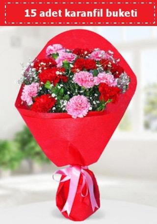15 adet karanfilden hazırlanmış buket  Mersin çiçek satışı
