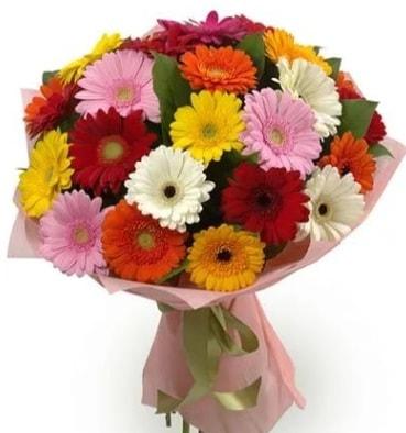 Karışık büyük boy gerbera çiçek buketi  Mersin çiçek servisi , çiçekçi adresleri