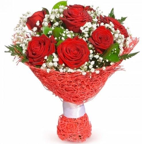 7 adet kırmızı gül buketi  Mersin İnternetten çiçek siparişi