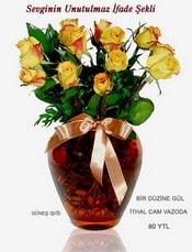 Mersin çiçek yolla , çiçek gönder , çiçekçi   mika yada Cam vazoda 12 adet sari gül